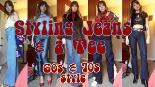 10 Ways to Wear Jeans & Tee | 60s and 70s Style