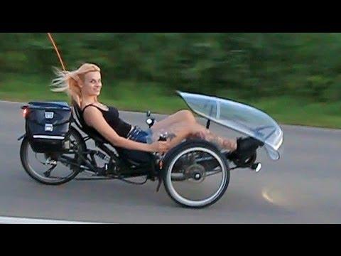 HP Velotechnik Scorpion E-Trike mit Tretkurbelantrieb - Moni macht Probefahrt