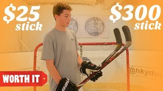$25 HOCKEY STICK VS $300 HOCKEY STICK!