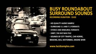 Roundabout Traffic, Cars, Bus, Horns, Braking Sound Effects