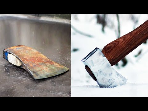 Restoring neglected axe head to mirror polish and making a new handle for it