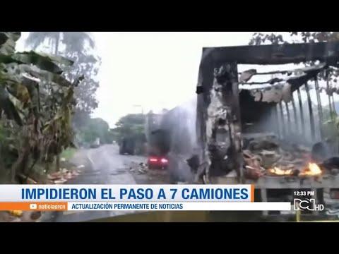 ELN quema camiones en via de Antioquia con la Costa Atlantica