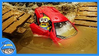 The minions in the car. Minions car in a puddle. Minion