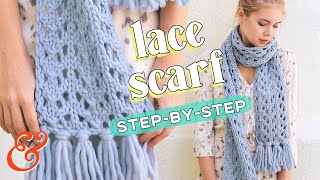 How to Knit a Chunky LACE SCARF (for Beginners!)