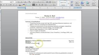USF Muma College of Business- Resume Tutorial