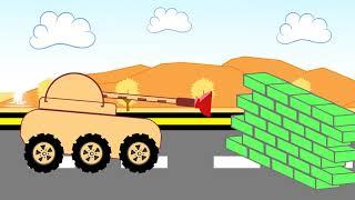Танк едет по шоссе, ему перекрывает дорогу кирпичные стены, он стреляет снарядами и разбивает стены. И спокойно едет дальше. Мультфильм для детей про