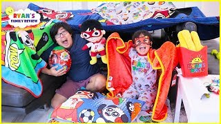 Secret Base Pillow Fort Challenge With Ryans Family Review!!