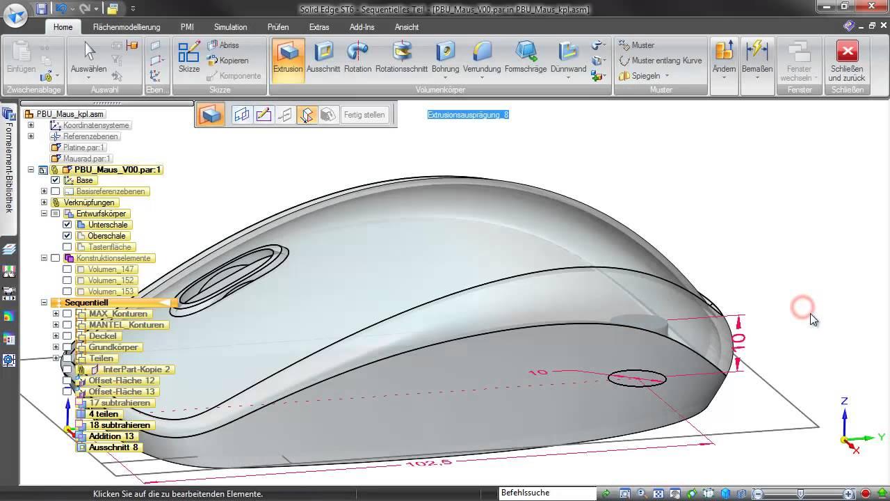 Vorschaubild: Solid Edge: Methoden- und Produktentwicklung am Beispiel einer PC-Maus