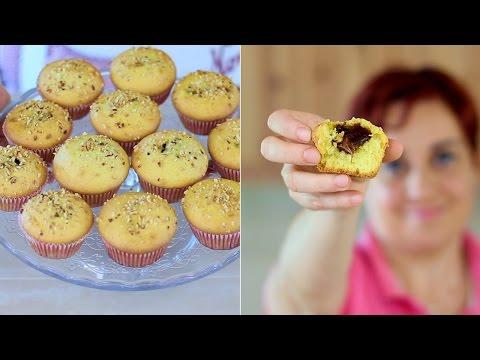 MUFFIN CUOR DI NUTELLA Ricetta Facile - Nutella Heart Muffins Recipe