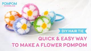 DIY Tutorial - Quick & Easy Way To Make A Flower Pompom - Hướng Dẫn Làm Cột Tóc Pompom Bông Hoa