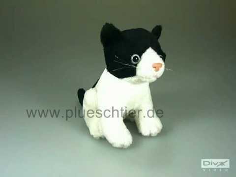 Plüschtier Katze schwarzweiß mit Stimme 1436