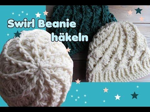 Swirl Beanie Mütze häkeln, Streifen Muster, sehr einfach