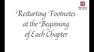 Restarting Footnotes  at the Beginning  of Each Chapter