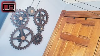 Functional Steampunk Wooden Gears Wall Art With Pulley From BitterrootDSign2 DIY And Review