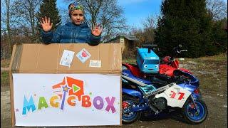 Funny MAGIC BOX Baby Ride on Sport Bike Power Wheel Pocket Bike Magic Hide and Seek Tayo Bus
