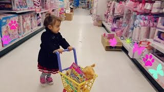 "Cute Little Girl  Doing Shopping -TOYS ""R"" US - Toy Shopping Cart"