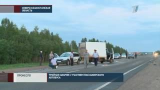 В Северо-Казахстанской области произошла тройная авария с участием пассажирского автобуса