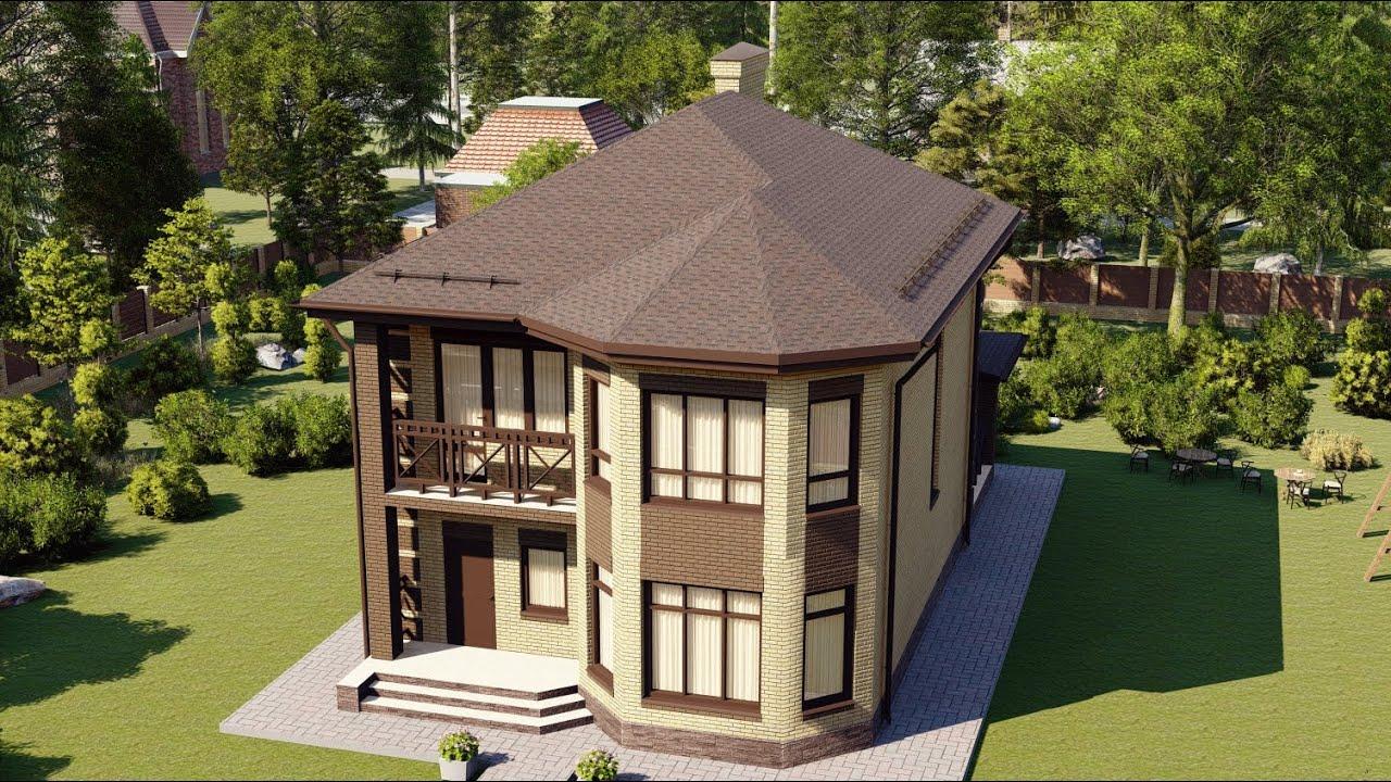 Красивый проект дома с эркером и балконом