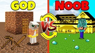 Minecraft Battle: NOOB vs GOD: SWAPPED LIFE CHALLENGE / Animation