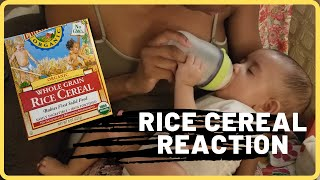 FIRST TIME EATING RICE CEREAL!! How to make Rice Cereal and Her Reaction