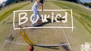 GoPro Cricket Spin Bowling at it's Best - Spinning the ball 95 Degrees Off Stump, BOWLED!!!