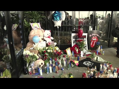 Rapper Nipsey Hussle, who was shot and killed Sunday night outside of his Los Angeles clothing store, is being remembered for giving back to his community. Activists, community leaders and neighbors gathered outside the store Monday to mourn. (April 1)