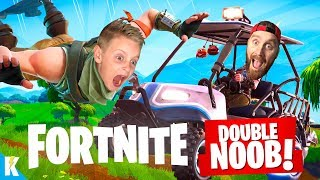 FORTNITE Double Noob 2! Getting our first VICTORY!? KIDCITY GAMING