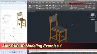 AutoCAD 3D Modeling | Chair Tutorial | Exercise 1
