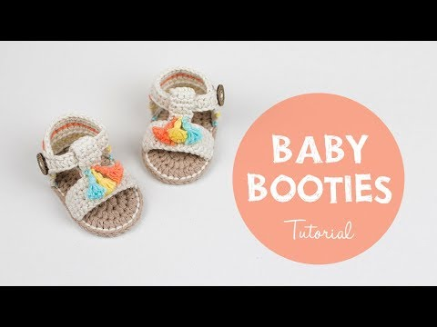How To Crochet Cute and Easy Baby Booties Sandals | Croby Patterns
