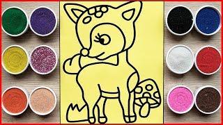Đồ chơi trẻ em TÔ MÀU TRANH CÁT CON NAI VÀNG NGƠ NGÁC - Colored sand painting deer toys (Chim Xinh)