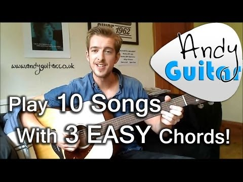 Play TEN guitar songs with three EASY chords   Beginners guitar lesson