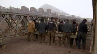 Army Engineers building bridges in Antarctica