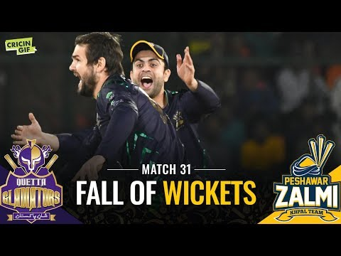 PSL 2019 Match 31: Peshawar Zalmi vs Quetta Gladiators | CALTEX Fall of Wickets