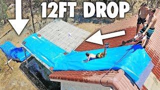 100FT ROOFTOP MEGA SLIP N SLIDE! *HUGE DROP*