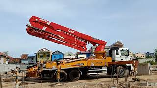 Set Up full Support turn on remote control and Amazing Concrete pump machine