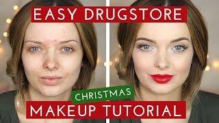 drugstore easy christmas makeup tutorial mypaleskin