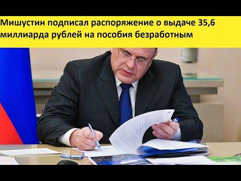 Мишустин подписал распоряжение о выдаче 35,6 миллиарда рублей на пособия безработным
