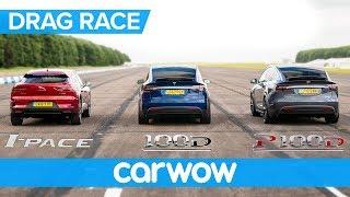 Jaguar I-Pace vs Tesla Model X 100D & P100D - DRAG RACE, ROLLING RACE AND BRAKE TEST