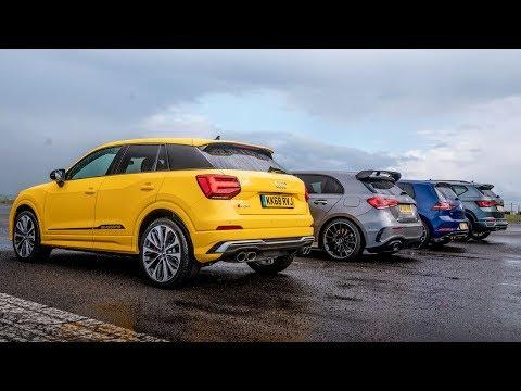 Audi SQ2 vs Merc-AMG A35 vs VW Golf R vs Cupra Ateca   Drag Races   Top Gear