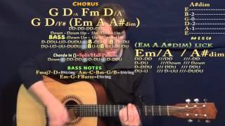 Lay Me Down (Adele) Guitar Lesson Chord Chart - Capo 4th