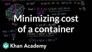 Optimization: Cost Of Materials | Applications Of Derivatives | AP Calculus AB | Khan Academy