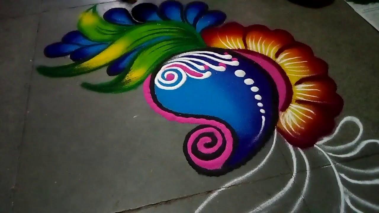 simple rangoli design for holi festival