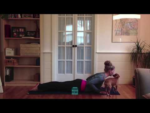 Dog Plays' On Girl's Butt During Yoga