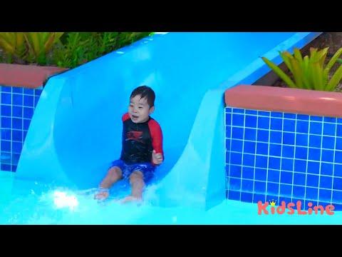 公園のすべり台がプールのスライダー??? こうくん迷子?? おゆうぎ こうくんねみちゃん Park slide turned into pool slider