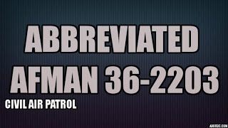 Abbreviated AFMAN 36-2203 - Drill Guide