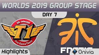 SKT vs FNC Highlights Worlds 2019 Main Event Group Stage SK Telecom T1 vs Fnatic by Onivia