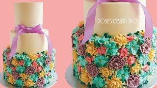 Loaded FLORAL Spring WEDDING Cake- Rosies Dessert Spot