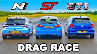i20N v Fiesta ST v Polo GTI: DRAG RACE