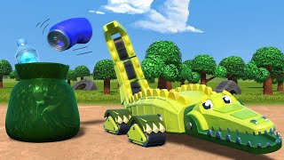 AnimaCars - Save the Planet with the CROCODILE!  - Cartoons for kids with trucks & animals