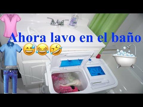 AHORA LAVO EN EL BAÑO + 🛁😅+COMO USAR LA LAVADORA PORTÁTIL DELLA+PARTE 2